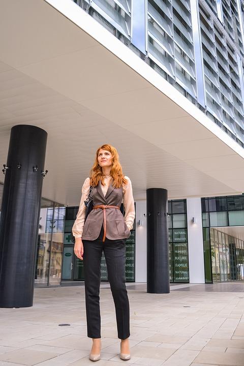 Beautiful, Business, Woman, Standing, Hand, Pockets