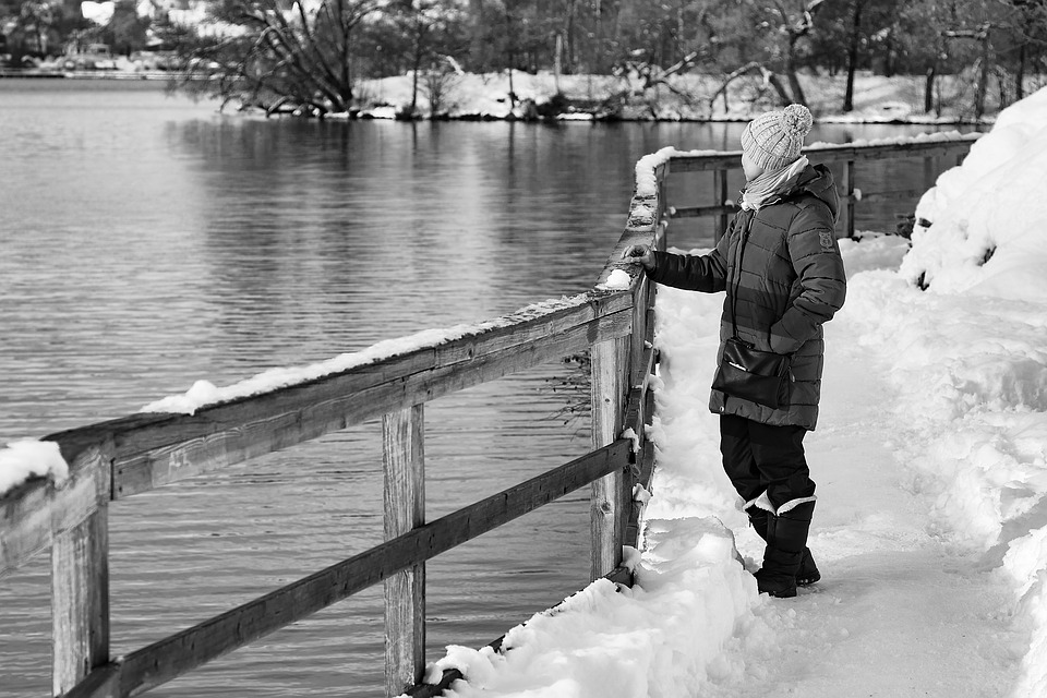Woman, Winter, Standing, Thinking, Looking, Wondering