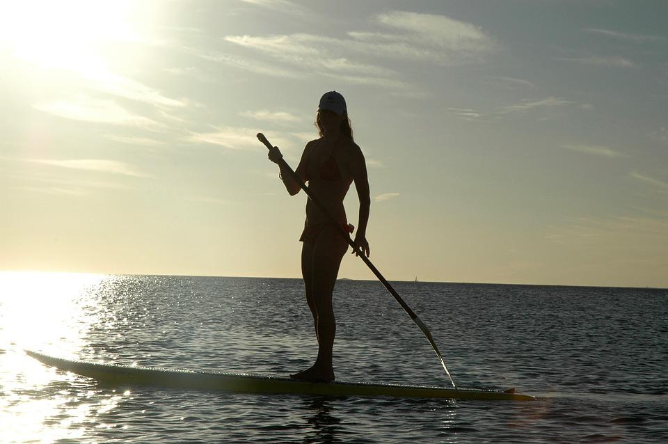 Standup, Paddle Board, Sunset, Silhouette, Water