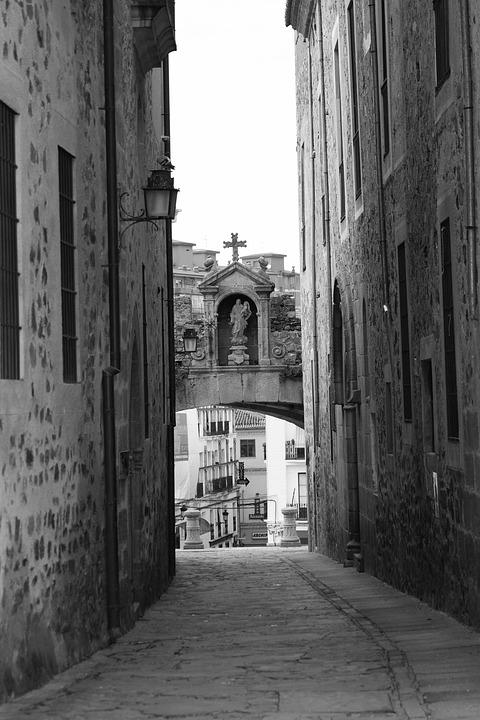 Cáceres, Black And White, Arc, Star, Stone, Romanesque