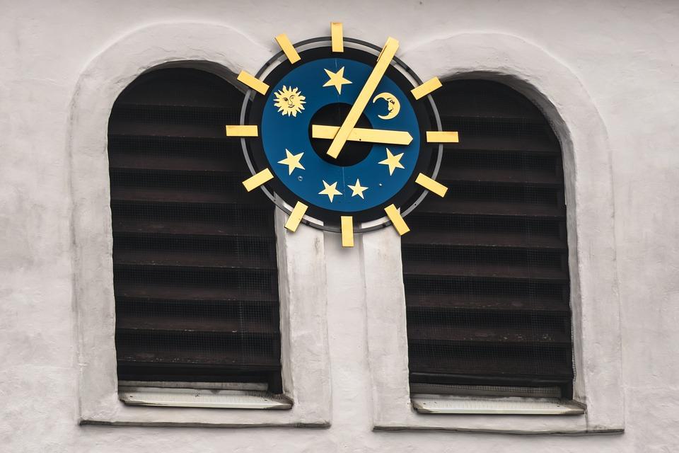 Clock, Clock Face, Sky, Sun, Moon, Star, Clock Tower