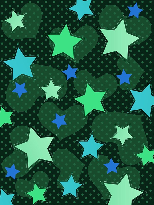 Background, Star, Heart, Pattern, Colorful