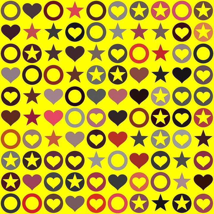 Heart, Circle, Star, Seamless Pattern, Heart Shape