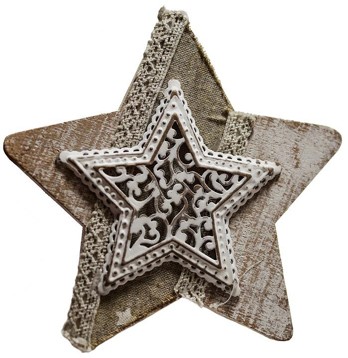 Star, Vintage, Decoupage, Wooden, Lace, Handmade, Retro