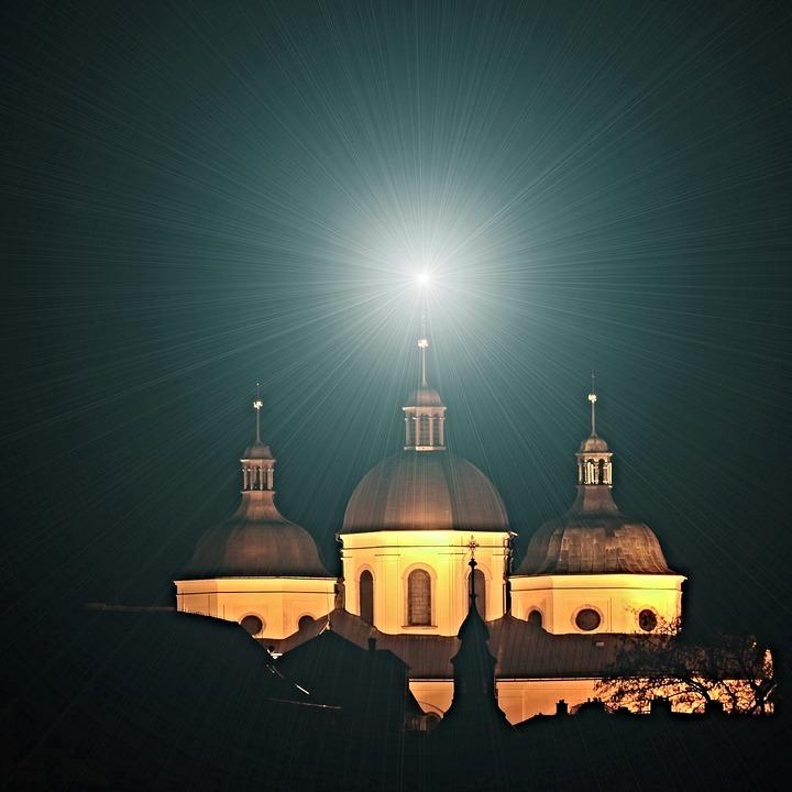 Church, Star, Faith, Night, Light