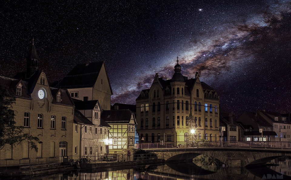 Eschwege, Milky Way, Star, Starry Sky, Night, Sky, City
