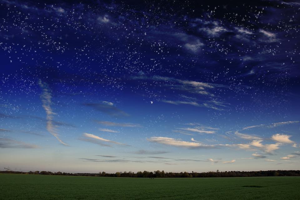 Starry Sky, Milky Way, Evening, Sky, Star, Meadow