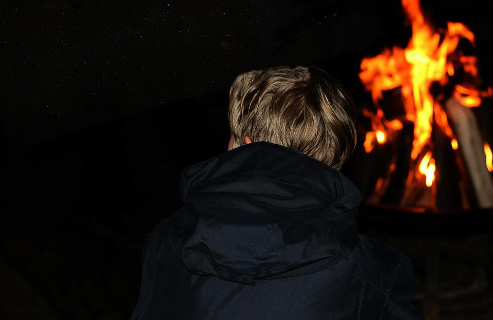 Campfire, Flame, Heat, Woman, Young, Star, Sky, Night
