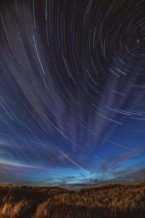 Star Trails, Night Sky, Field, Stars, Starry Sky, Night