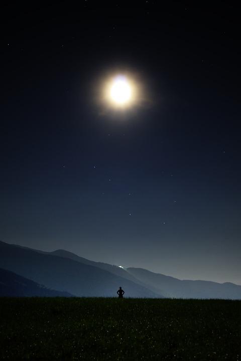 Night, Star, Moon, Big Bar, Human, Universe, Starry Sky