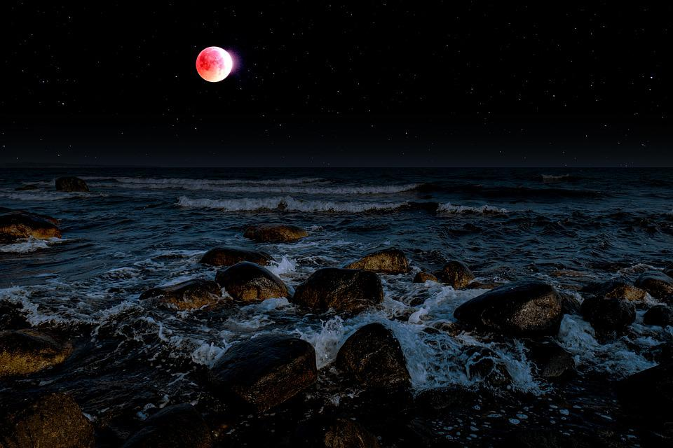 Lunar Eclipse, Moon, Blood Moon, Sky, Starry Sky, Star