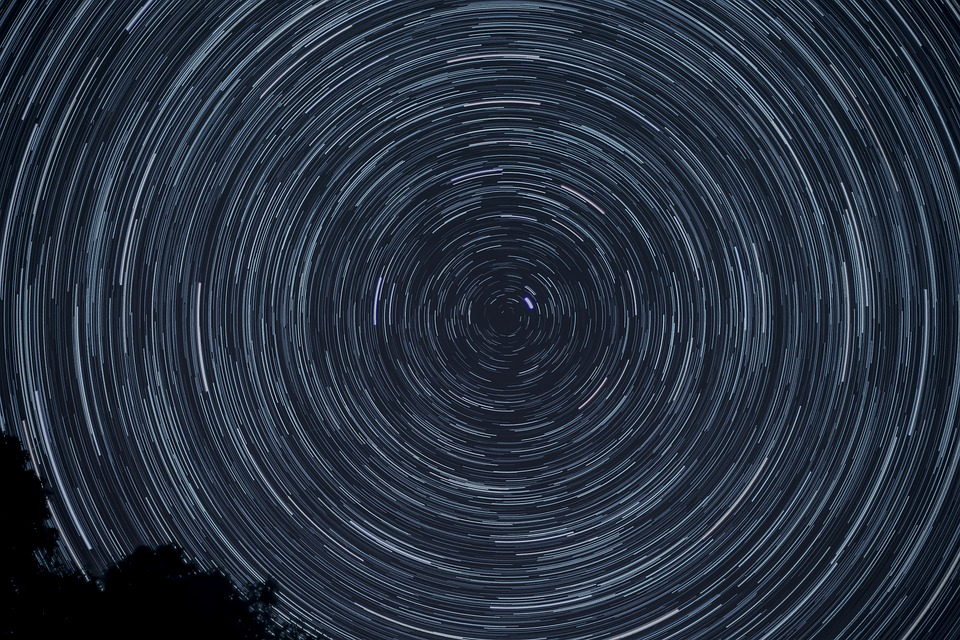 Night, Stars, Rotation, Starry Sky, Star Trail, Dark
