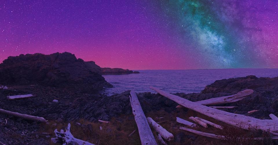Canada Night Sky Stars Ocean Summer Beach