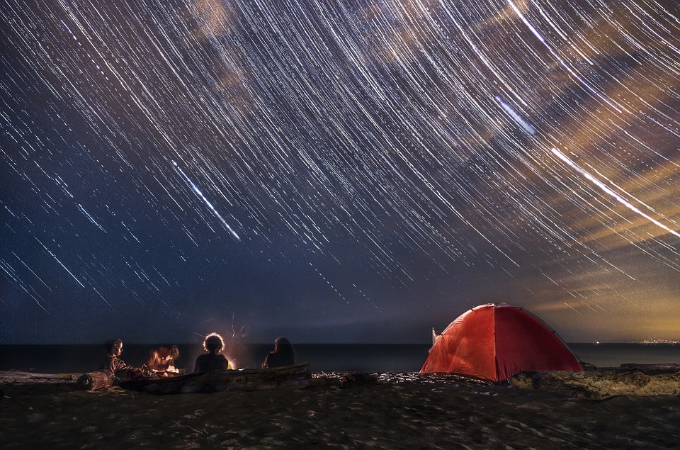 Startrail, Star, Stars, Camping, Sea, Night, Sky, Beach