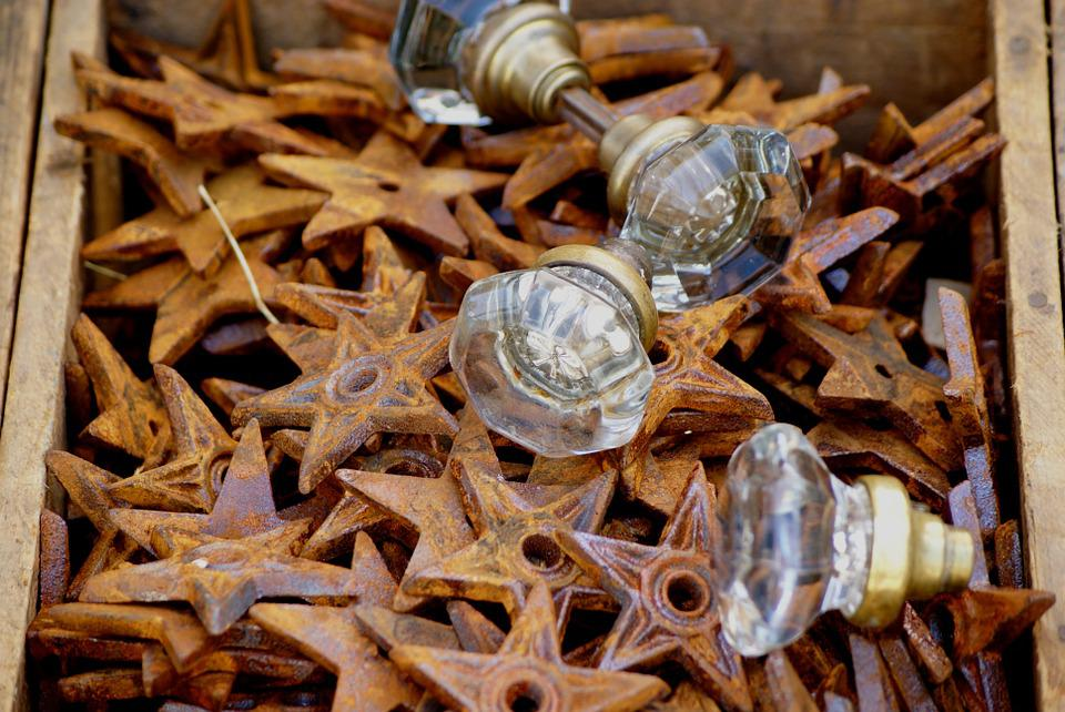 Decor, Knobs, Stars, Door, Rust, Texture, Old, Design