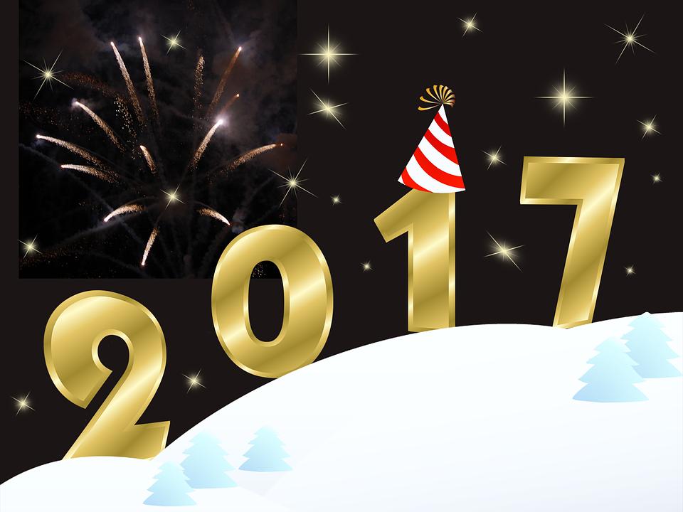 Happy New Year 2017, New Year 2017, Lights, Stars