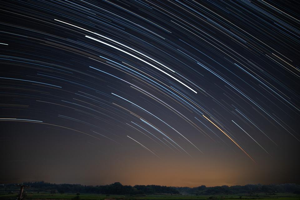 Stars, Star Tracks, Night Sky, Long Exposure