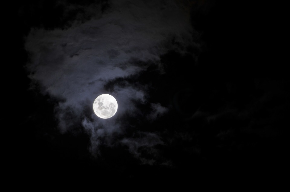 Full Moon, Sky, Night, Space, Dark, Moon, Stars