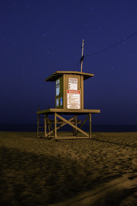 Lifeguard, Beach, Sand, Night Sky, Stars, Wood, Blue