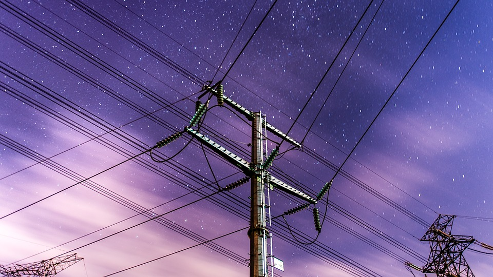 Anime Winds, Telephone Poles, Night, Stars