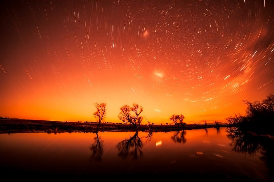Silhouettes, Stars, Long Exposure, Lake, Water