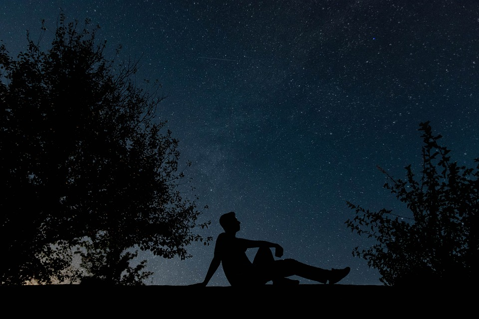 Man, Sillhouette, Night, Sky, Stars