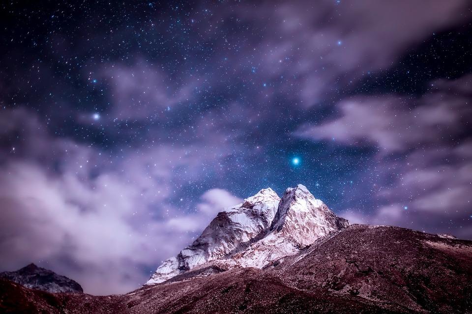 Himalayas, Mountains, Sky, Clouds, Stars, Night, Sunset