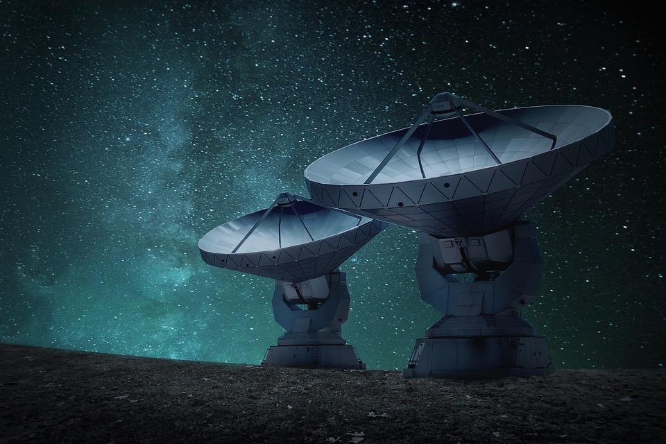 Radio Telescopes, Antennas, Galaxy, Space, Stars