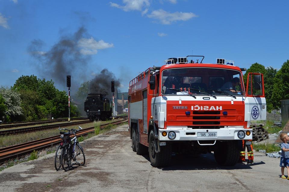 Lázně Bělohrad, Station, Steam Locomotive, Firefighters