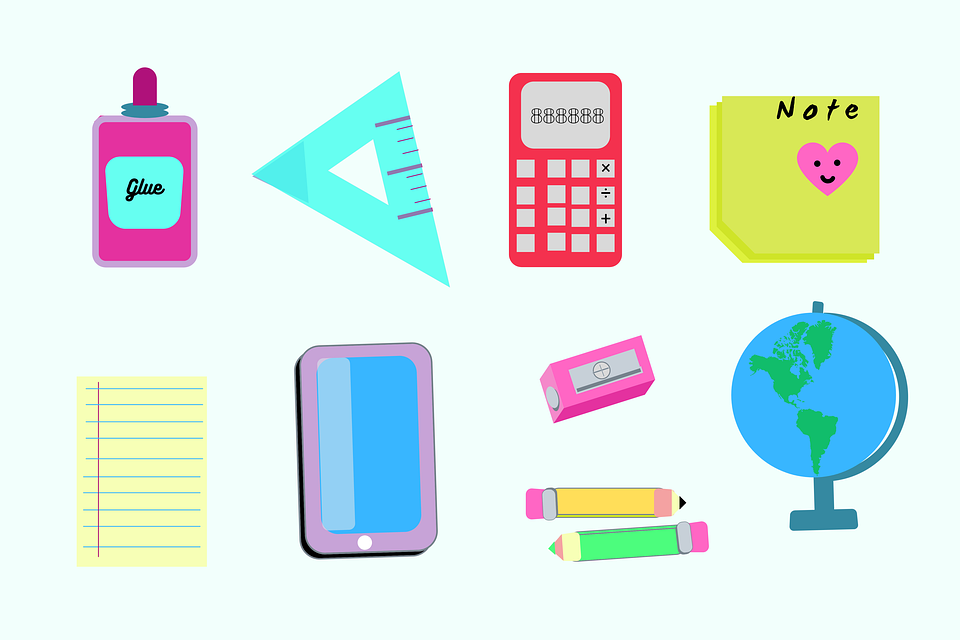School Supplies, Stationery, Icons, Office Supplies