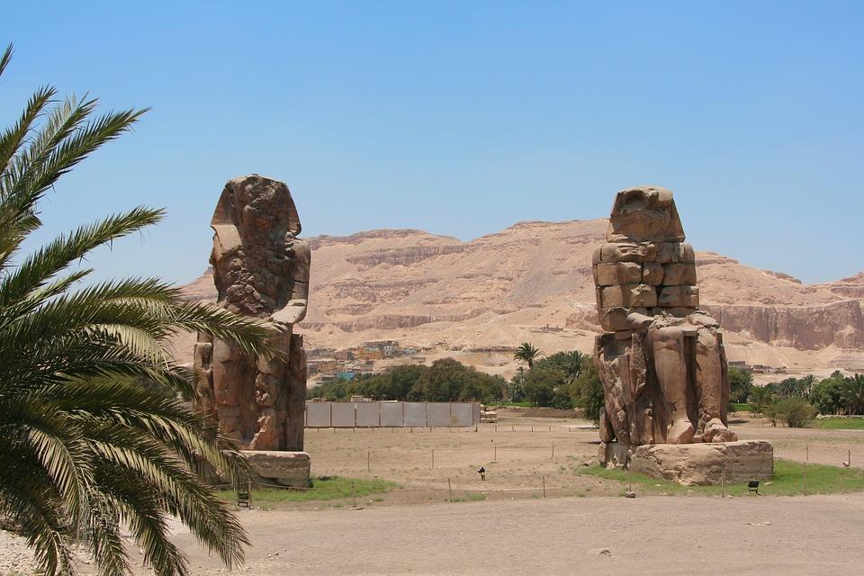 Luxor, Egypt, Pharaoh, Statue, 2 Pieces, Phoenix