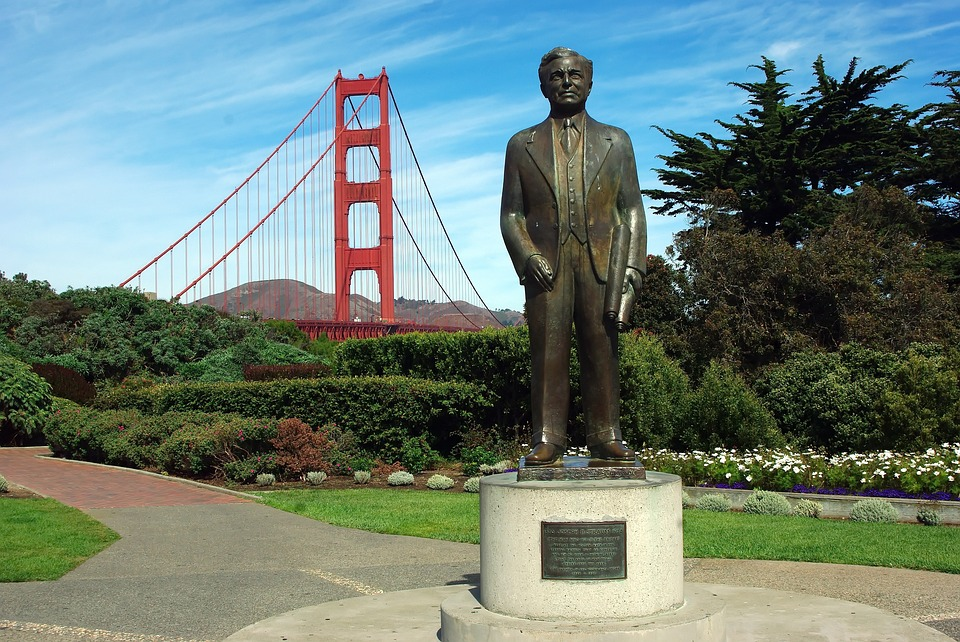 Usa, San Francisco, Golden Gate, Statue, Architect