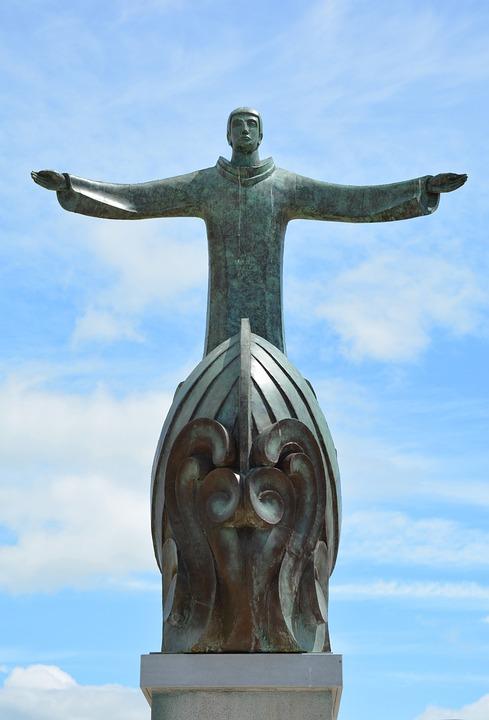 Statue, Ireland, Bantry, Holy, Clouds, Sky, Spiritual