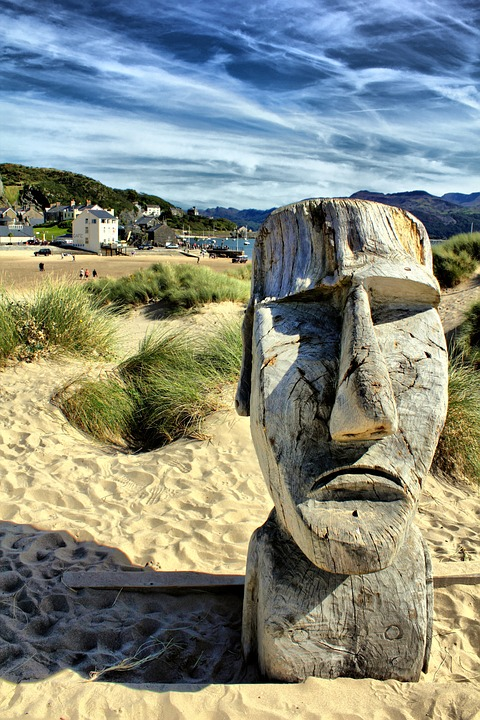 Moai, Sculpture, Barmouth, Beach, Statue, Easter