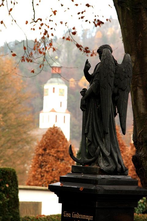 Angel, Statue, Cemetery, Blaubeuren, Mourning