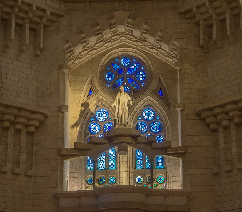 Sagrada Familia, Cathedral, Stained Glass, Statue