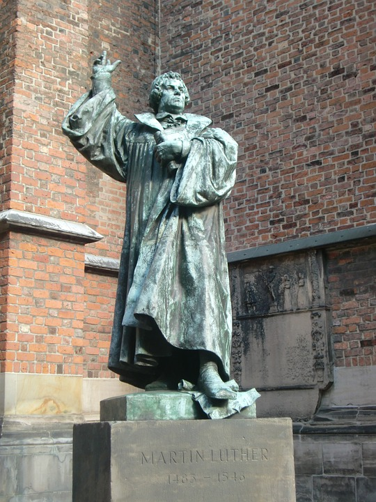 Martin Luther, Statue, Protestant, Church, Germany