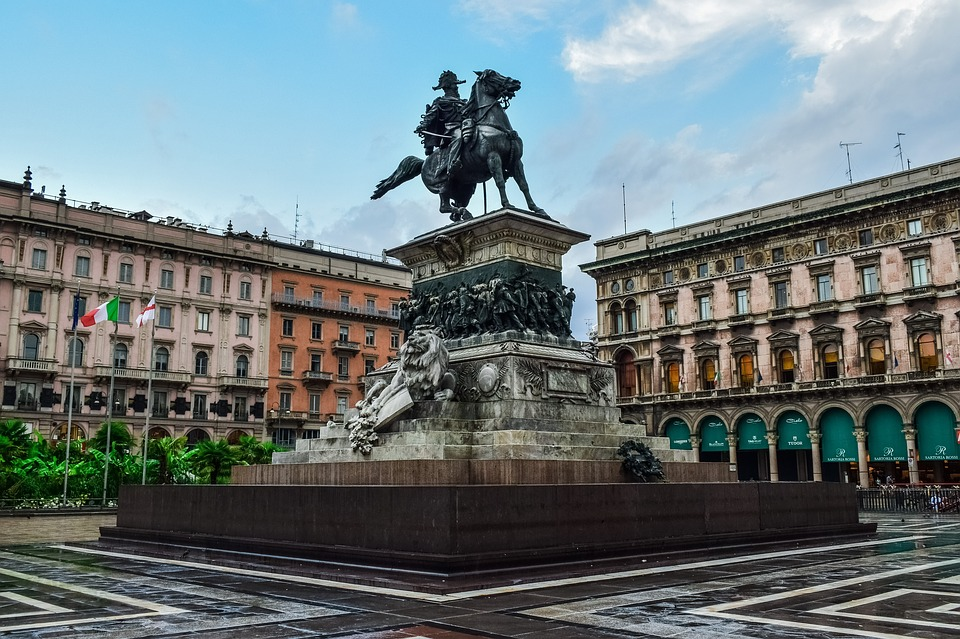 Italy, Milan, Square, Statue, Lombardy, City, Downtown