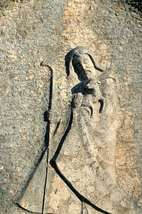 Saint Christophorus, Relief, Statue, Fig, Stone