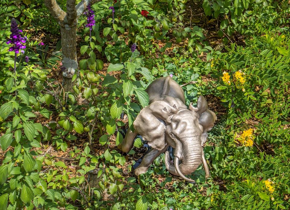 Elephant, Statue, Sculpture, Green, Garden, Flowers