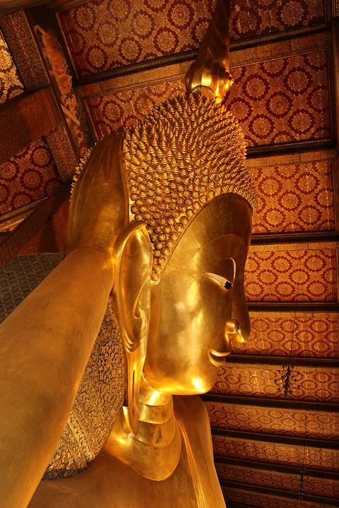 Buddha, Golden, Temple, Statue, Head