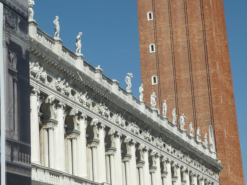 Venice, Italy, Statue, Sculptures, Building