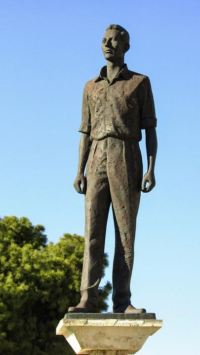 Cyprus, Larnaca, Statue, Hero, Man