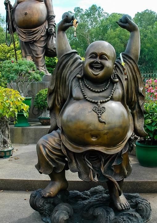 Broncefigur, Statue, Fat Belly, Laugh