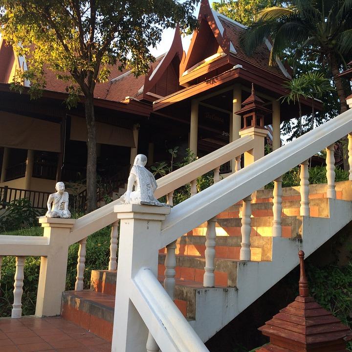 Thailand, Steps, Light, Statue
