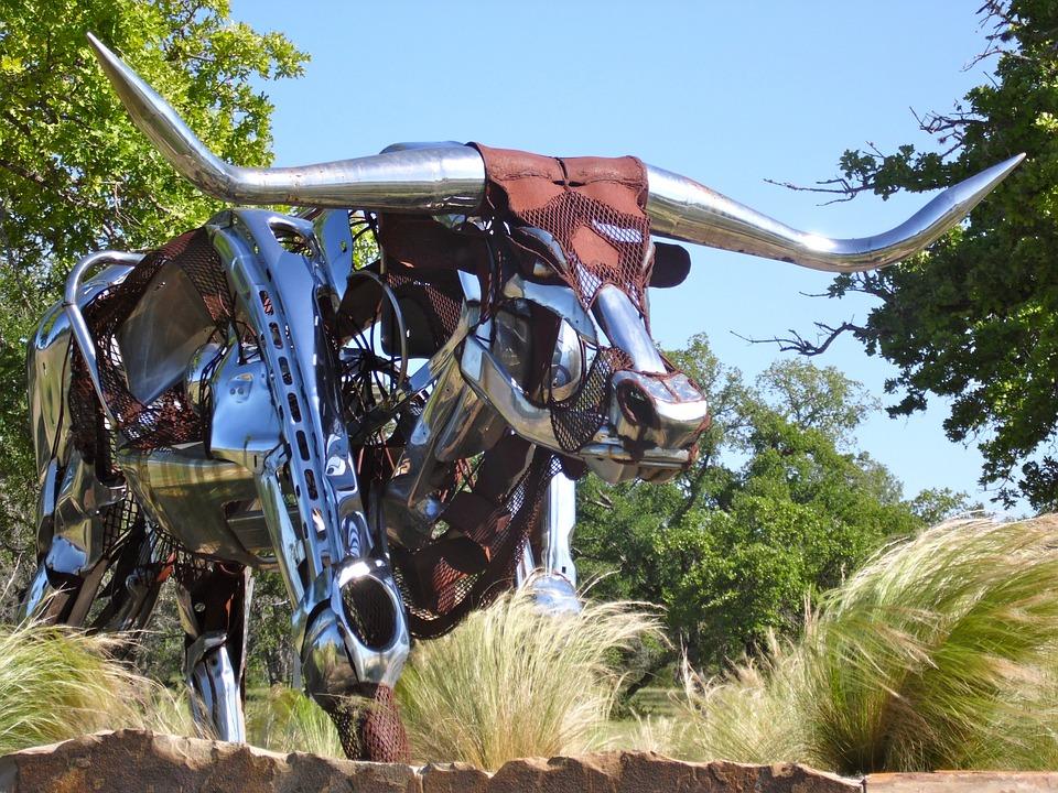 Texas, Longhorn, Sculpture, Metal Art, Shiny, Statue
