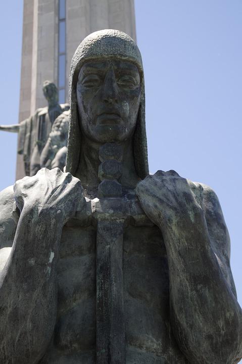 Monumental, Knight, Sword, Statue, Chain Hood, Fight