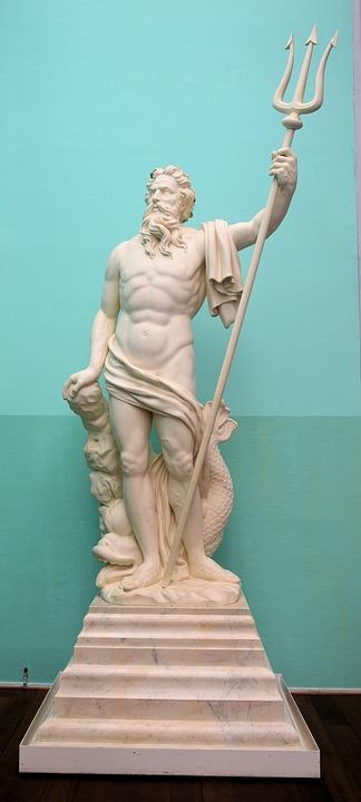 God, Myth, Sea, Neptune, Statue, Stonework, Stone