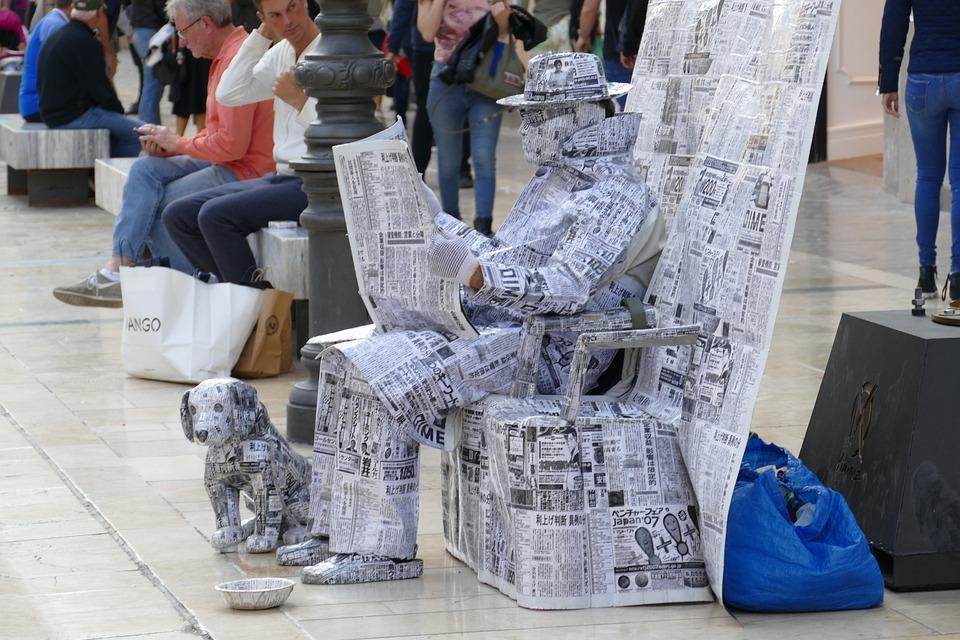 Image, Statue, Alive, Artist, Street Artist, Newspaper