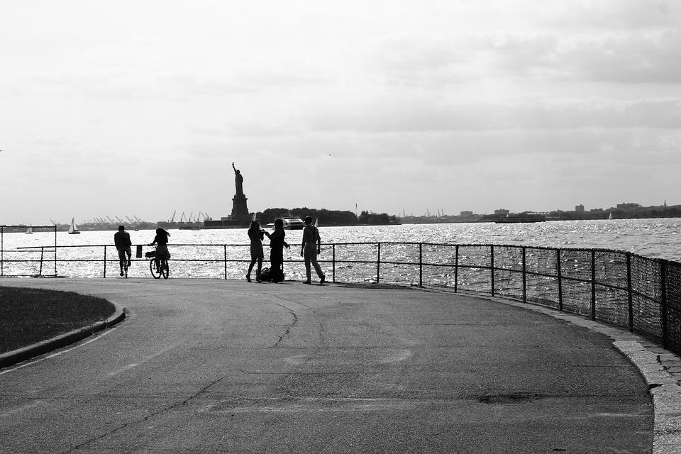 Statue Of Liberty, Black And White, American